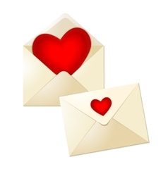 Open and close envelopes with glass red hearts for vector image