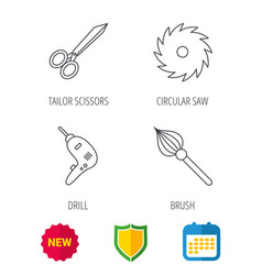 scissors drill and repair tools icons vector image vector image