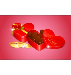 Chocolate in Heart Shape Box vector image vector image