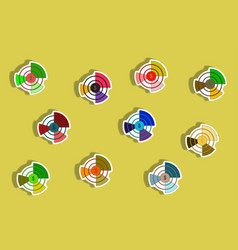 Flat icons set of business pie chart and currency vector