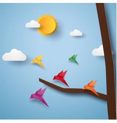 flock of birds flying paper art style vector image vector image