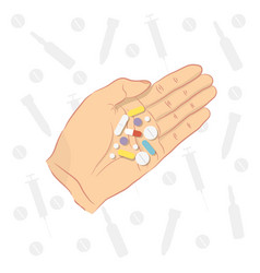 man holding pills in his hand vector image vector image