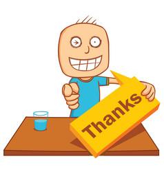 man table - thank you vector image vector image