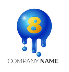 number eight splash logo blue dots and bubbles vector image vector image