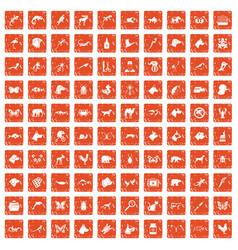 100 animals icons set grunge orange vector image