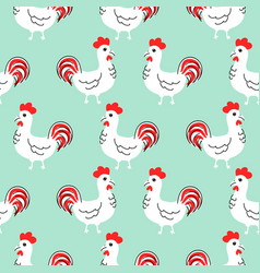 cock white cartoon seamless pattern vector image vector image