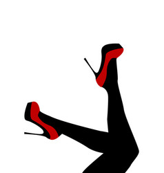 female legs wearing red shoes with high heels vector image