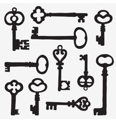 Keys silhouette composition vector image vector image