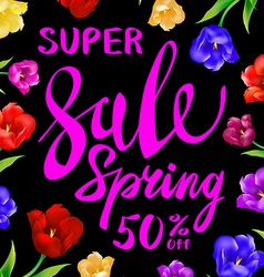 Pink sale spring sign with black background color vector