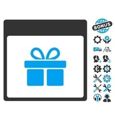 Present Box Calendar Page Icon With Bonus vector image vector image