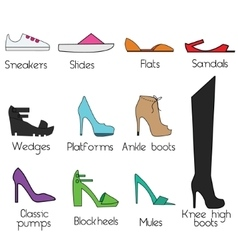 Shoes models for women icons set design vector image