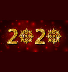 2020 text golden glitter template for happy new vector image