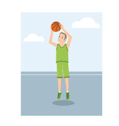 A young american basketball player in green vector