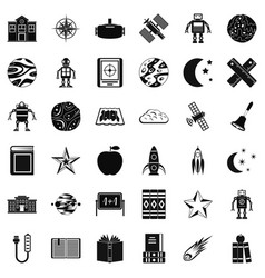 Astronomy icons set simple style vector