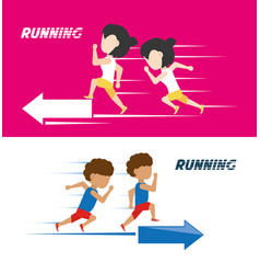 athletes with running shoes sport competition vector image