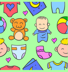 Baby object style of doodles vector