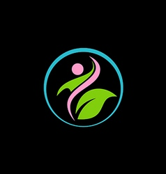 Beauty green leaf spa salon logo vector