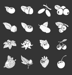 Berries icons set grey vector