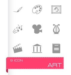 black art icons set vector image