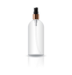 Blank clear cosmetic round bottle with press vector
