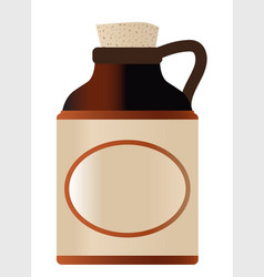 Blank stone bottle with cork and logo vector