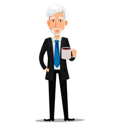 business man with gray hair vector image