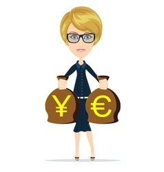 Business woman holding bags of money vector