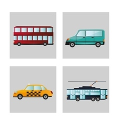 Car tram taxi and bus design vector