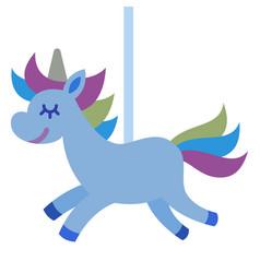 Carousel unicorn icon flat isolated vector