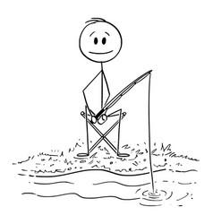 Cartoon man or fisherman with rod fishing fish vector