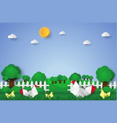 Chicken in the garden paper art style vector