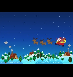 Christmas theme santa claus reindeer over hills vector image