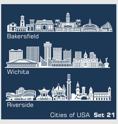 cities usa - bakersfield wichita riverside vector image