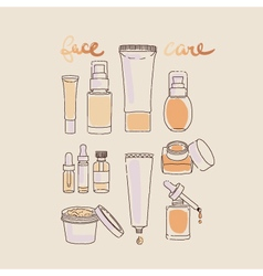 Collection of scin care products and cosmetics vector