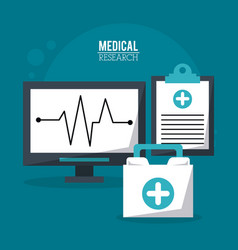 Color poster medical research with pulse monitor vector