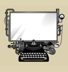 complex iron steampunk computer with a white vector image