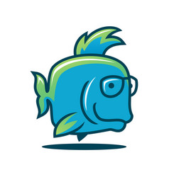 cute fish character in glasses fish icon vector image
