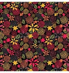 Cute night flowers seamless pattern vector image
