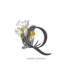 decorated q letter with hand drawn tropical leaves vector image