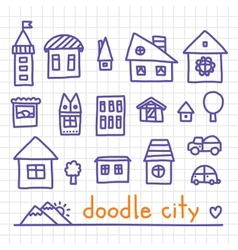 Doodle city vector image