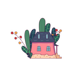 Doodle fairy little house with different green vector