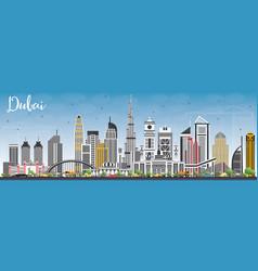 dubai uae skyline with gray buildings and blue sky vector image
