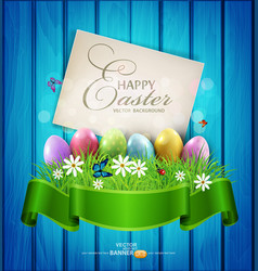 easter eggs with greeting card grass and flowers vector image vector image