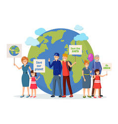 Environmental activists with posters flat vector