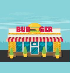 Facade of burger shop flat vector