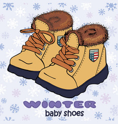 Fashion winter pair of boots with fur vector