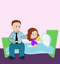 Father and daughter Bedtime Girl plays in rubber vector