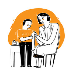 Female doctor giving patient vaccine vector