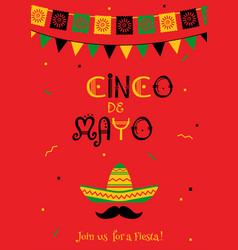 Festive red cinco de mayo invitation poster vector