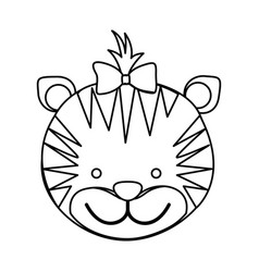 Figure face tiger ribbon bow head icon vector